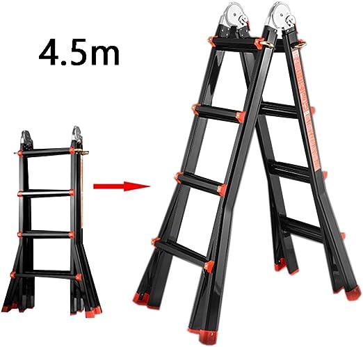 Escalera extensible/ Escalera telescópica Escalera Gigante Negra pequeña de 4 peldaños Aluminio Multiusos para Uso doméstico, para Exteriores, 4.5 m (14.7 pies), 150 kg: Amazon.es: Hogar