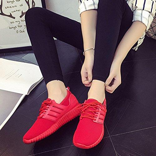 Chaussures Européennes Chaussures Rouge de Sport Respirante Et Plat D'Automne Et Dentelle Chaussures Rouges ZH Chaussures Printemps Maille de Américaines Casual Agd7wx75nq