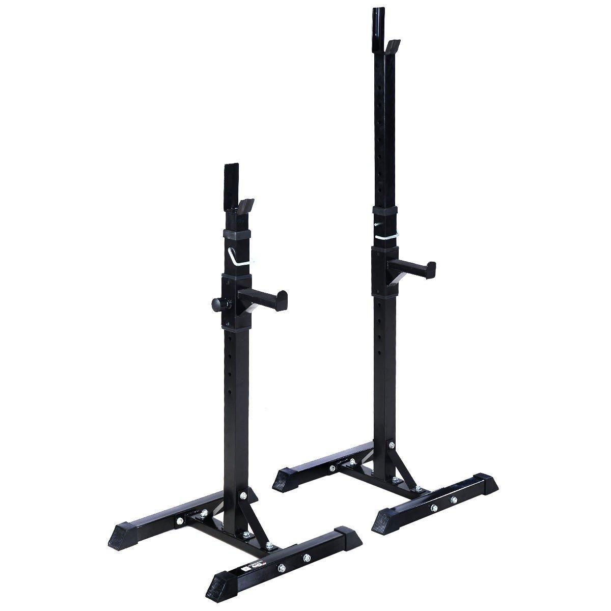 MyEasyShopping Pair of Adjustable Standard Solid Steel Barbell Rack Barbell Steel Rack Pair Standard Solid Adjustable Squat Bench Stands Gym by MyEasyShopping