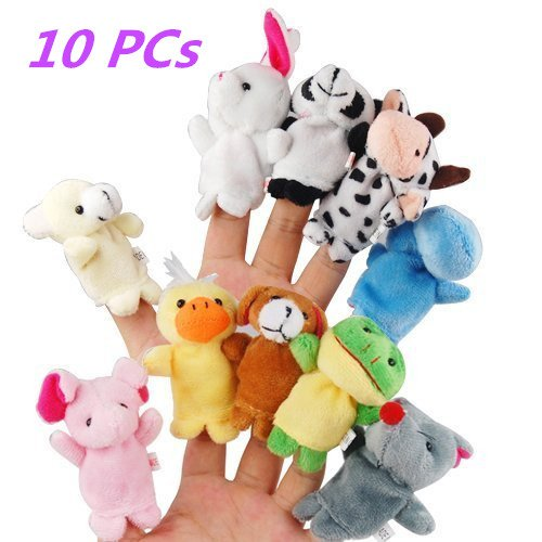10 Pig Piece (zhaodawei 10-Piece Finger Puppets Set - Cloth Puppets with 10 Plush Cute Animal Style Baby Story Time Finger Puppets for Children, Shows, Playtime, Schools)