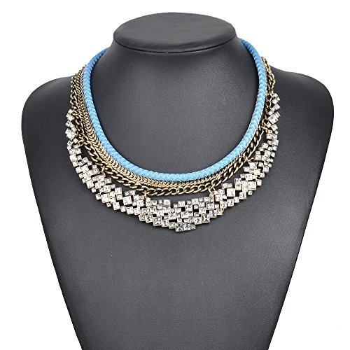 [Girl Era Elegant Shining Rhinestone Fashion Jewelry Chunky Rope Collar Necklace For Womens(blue)] (Victorian Era Mens Costumes)