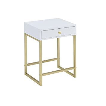 Amazon.com: Acme Furniture Coleen Color Blanco y latón mesa ...