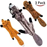 Stuffingless Dog Toys 3 Pack Durable No Stuffing Dog Toys with Squeakers Stuffless Plush Squeaky Dog Chew Toys Set of Squirrel Raccoon Fox Unstuffed Dog Toy for Medium and Large Dogs, 26-Inch