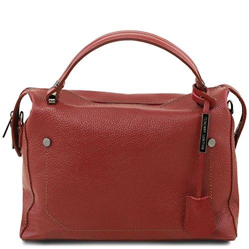 Tuscany Leather TL Bag Bolso a mano en piel morbida Negro Bolsos con asas Rojo