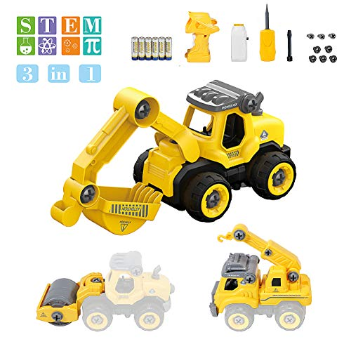 Take Apart Remote Dump Truck - Assembly Toy Bulldozer Constructions Truck Building Vehicles DIY Set with Electric RC Screwdriver, Ideal Toys Gift for Boys Aged 3, 4, 5, 6, Batteries Included