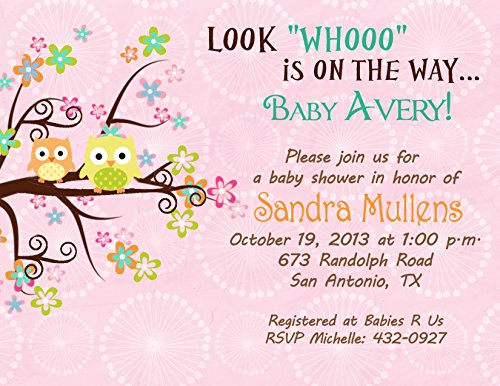 amazoncom baby shower bridal shower invitations tree owl cards custom printed kitchen u0026 dining