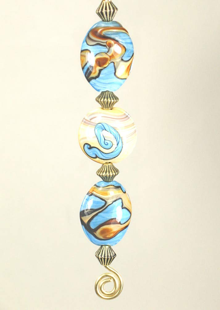 Southwest Swirl Sky Blue and Sand Landscape Glass Ceiling Fan Pull Chain by Trace Ellements (Image #2)