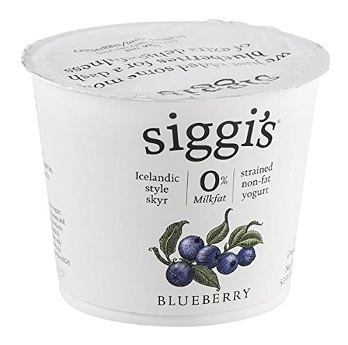 Siggis Strained Non Fat Blueberry Yogurt, 5.3 Ounce (Pack of 12)