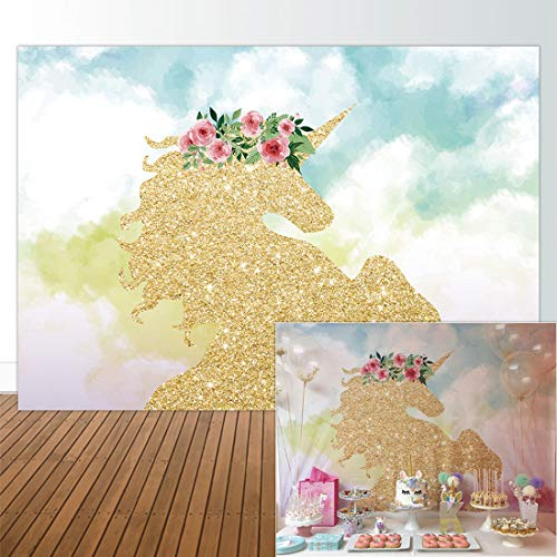 Allenjoy 7x5ft Fabric Unicorn Photography Backdrop Girls 1st Birthday Party Supplies Baby Shower Decorations Banner Gold Glitter Newborn Background Cake Smash Sessions Photo Booth Props Dessert Table