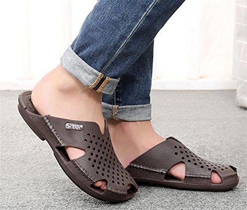 Summer men's bathroom slippers male leaking non-slip indoor toe hole slippers 44 p1RmH