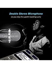 Grabadora de voz digital, yaergor 8 GB 1536 Kbps dictáfono grabador de audio de sonido para conferencias, reuniones,, activada por voz PCM y reproductor de mp3, doble micrófono