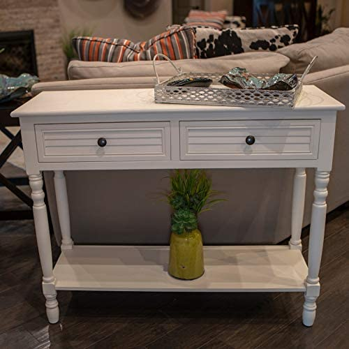 Decor Therapy Simplify Shutter Drawer Console table, Cream
