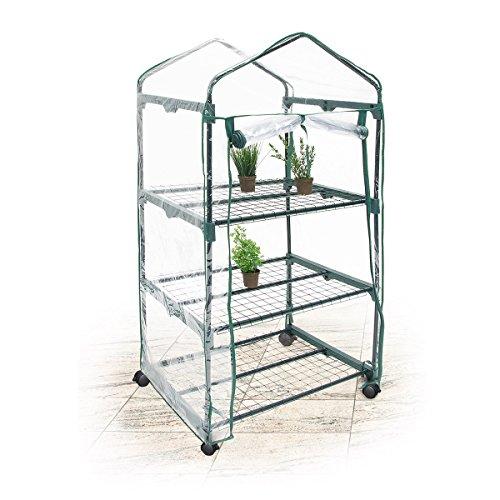 Relaxdays Foliengewächshaus mit Rollen 3 Etagen, transparent / grün, 57 x 70 x 130 cm, 10018892_344