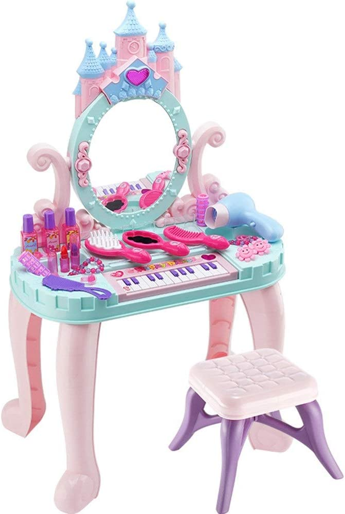 Rnwen Children's Dressing Table Toy Toy Princess Dresser Girl Dresser Set Kids Makeup Table Children's Toys with Hair Dryer Vanities (Color : Pink, Size : 74x29x44cm)