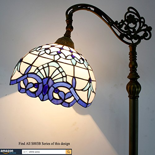 Tiffany Style Reading Floor Lamp Stained Glass White Blue Baroque Lampshade in 64 Inch Tall Antique Arched Base for Girlfriend Bedroom Living Room Lighting Table Set S003B WERFACTORY