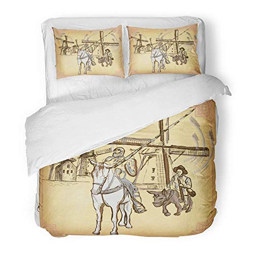 3 Piece Duvet Cover Set Brushed Microfiber Fabric Colored Line Don Quijote Quixote Freehand Sketch of Knight in Front Windmills Breathable Bedding Set with 2 Pillow Covers Twin Size