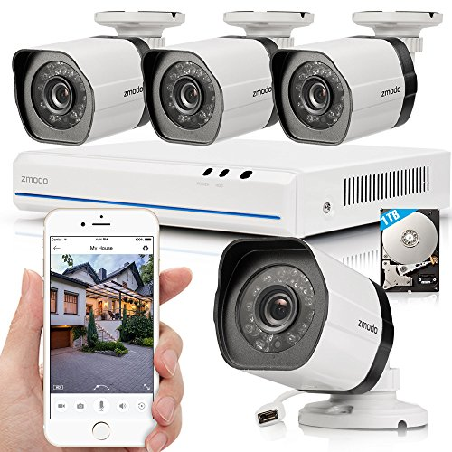 Zmodo 4 Channel White sPoE Security Camera System with 4 Indoor/Outdoor IP Cameras and 1TB Hard Drive