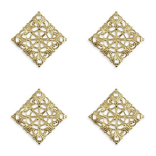 Vintaj Moroccan Tile Vintaj Vogue Solid Brass FV432 20x20mm Filigree Jewelry Making, Scrapbooking (Wrap Brass Filigree)
