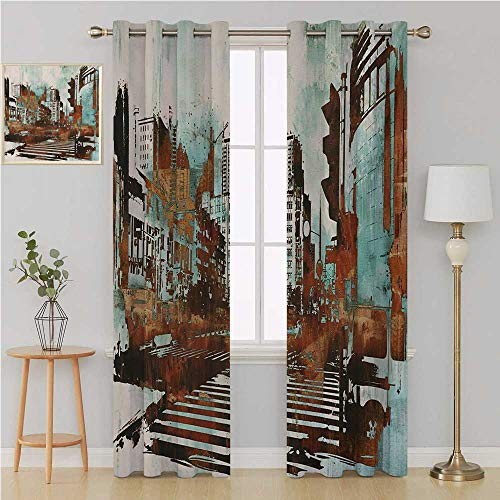 (Benmo House Grunge grummet Curtain Curtains for Living Room,Urban Cityscape Contemporary Abstract Acrylic Paint Style Brush Strokes Drapes Panels 108 by 84 Inch Seafoam Brown White)