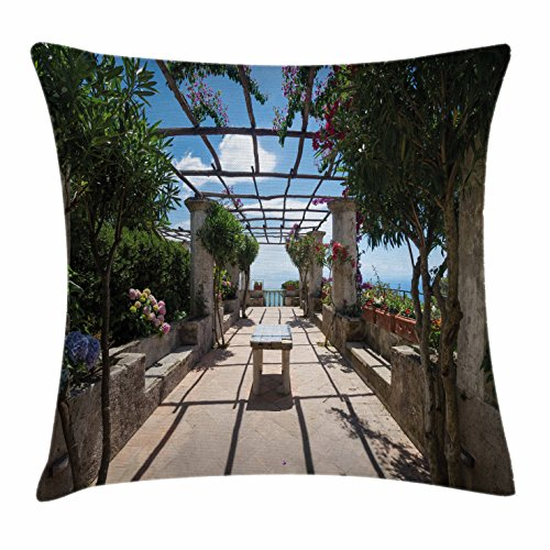 Ambesonne Italian Decor Throw Pillow Cushion Cover, Beautiful Panorama Villa Rufolo Ravello Amalfi Coast Historical Famous Nature, Decorative Square Accent Pillow Case, 24 X 24 Inches, ()