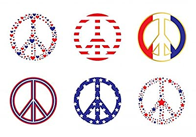 Wallmonkeys Patriotic Peace Signs Wall Decal Sticker Set Individual Peel and Stick Graphics on a Sticker Sheet WM415655