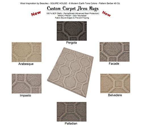 12'x14' Pergola - SQUIRE HOUSE - Custom Carpet Area Rugs & Runners - 40 Oz. Pattern Berber Style in Modern Earth Trones | 6 Colors to Choose From (Area Pergola Dining)
