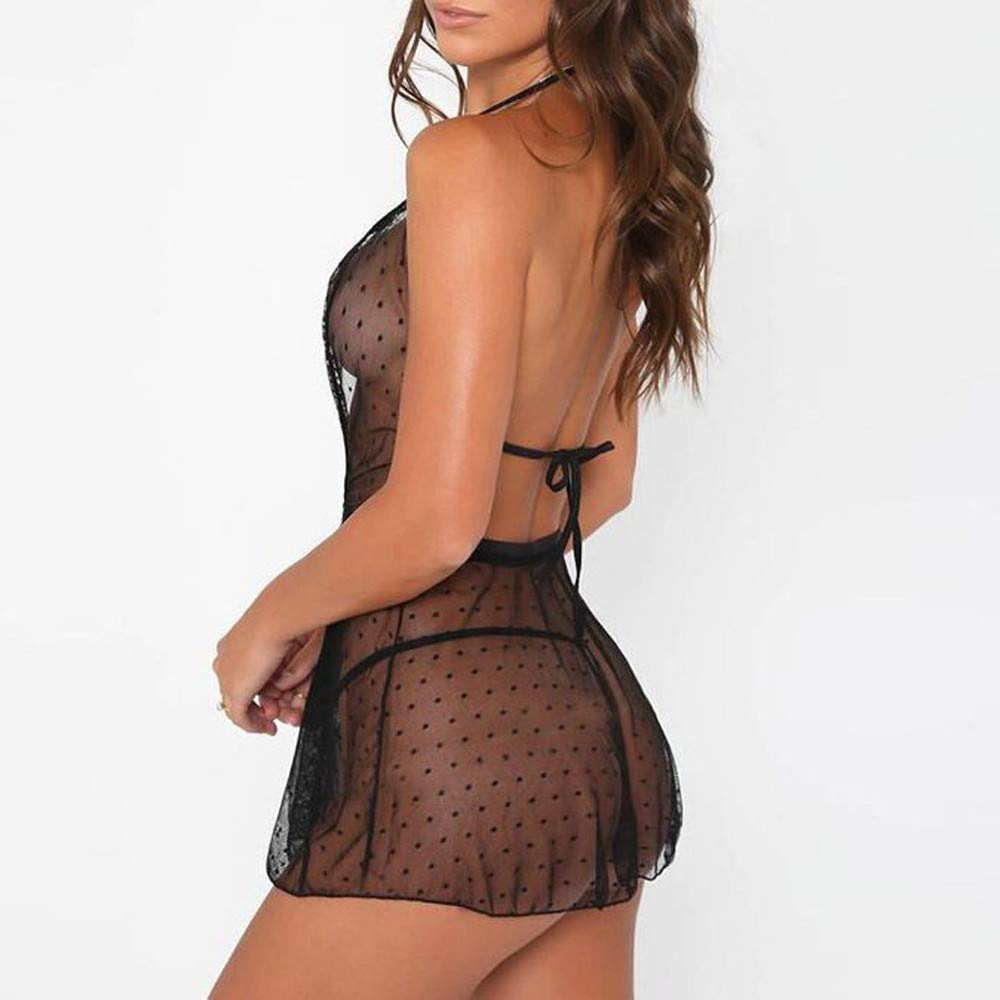 Libermall Sexy Lingerie for Women for Sex Sheer Lace Deep V Nightdress with G-String Babydoll Bodysuit Teddy Sleepwear Black by Libermall Lingerie (Image #2)