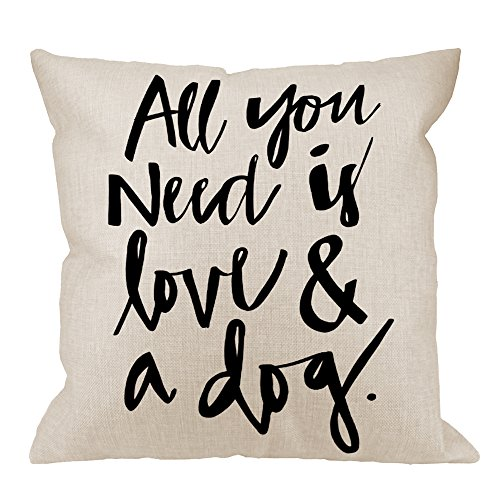 HGOD DESIGNS Throw Pillow Case Dog All You Need is Love and A Dog Lover Cotton Linen Square Cushion Cover Standard Pillowcase for Men Women