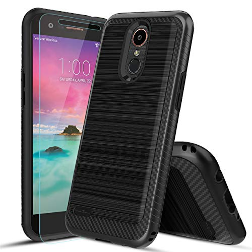MOLAONE LG Aristo 2 Case/k8+/k8/Aristo 3/Fortune 2/Tribute Dynasty/Zone 4/Phoenix 4/Risio 3/Aristo 2 Plus/Tribute Empire Case W[Tempered Glass Screen Protector] Shockproof Double Layer,Black ()