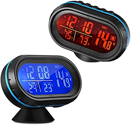 Voltage Monitor In//Out Thermometer Itian Multifunctional 4 in 1 Car Digital Clock