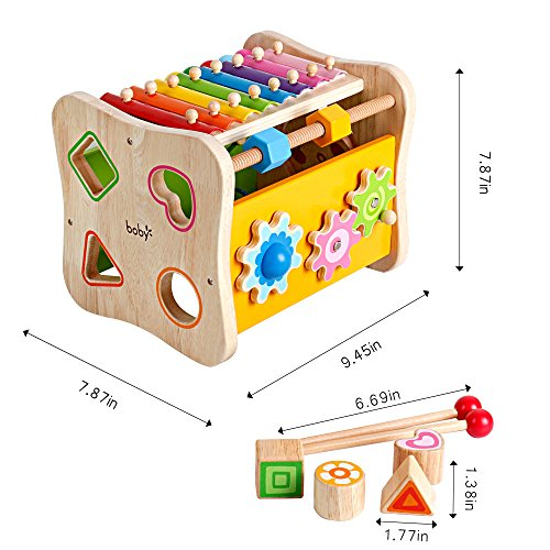 Life&Fun Kids Initiation Musical Toy Wooden 3 in 1 Multifunctional Music Toys Pound & Tap Xylophone Color&Tones Colorful Keys with Mallets by Life&Fun (Image #1)