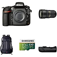 Nikon D810 FX-Format DSLR Camera with 24-70mm Lens Deluxe Battery Grip Bundle