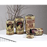 Seed Bag Red Rooster Food Safe Tin Canister Set Vintage Prim Rustic Kitchen Decor by Ohio Wholesale