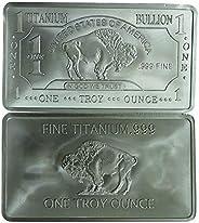 1 oz One Troy Ounce USA American Buffalo .999 Fine Titanium Bullion Bar Ti Element