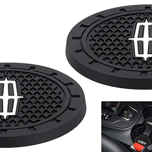 AOOOOP Car Interior Accessories for Lincoln Cup Holder Insert Coaster – Silicone Anti Slip Cup Mat for Lincoln MKC Nautilus Aviator Navigator MKZ Continental (Set of 2, 2.75″ Diameter)
