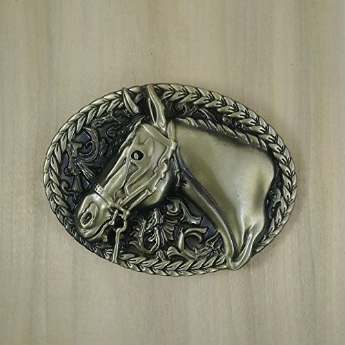 Buckle Rage Women's Horse Head Cowgirl Rodeo Equestrian Oval Silver Belt Buckle