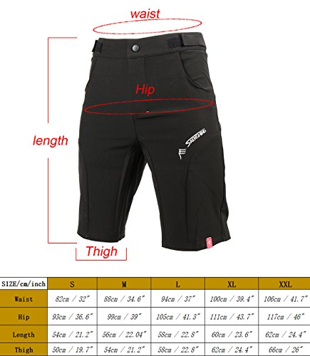 EXPEDER Set of 2, Mens MTB Shorts Baggy Cycling Half Pants 3D Padded Gel Underwear Shorts Outdoor Biking BMX Mountain Bike Sports