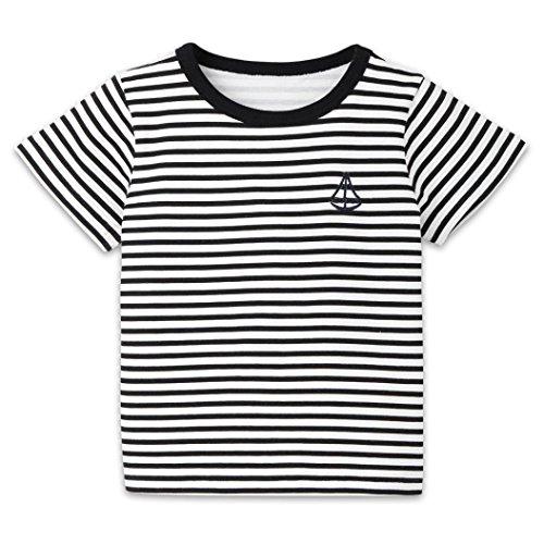 Doric Infant Kid Girls Boys Striped Boat Print T-Shirt Tops Shirts Tee