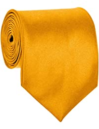 BRAND NEW Mens Necktie SOLID Satin Neck Tie Golden Yellow 48
