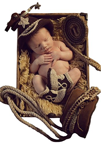 [Infant Crochet CowBoy Photos Clothing Set Star Hats Shoes] (Flower Child Costumes Ideas)