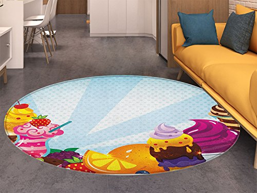 Ice Cream Non Slip Round Rugs Yummy Menu with Chocolate Raspberry Cherry Orange and Strawberry Flavors Image Oriental Floor and Carpets (Amalfi Oriental Area Rug)