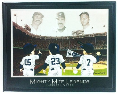 New York Yankees Legends: Mantle, Munson & Mattingly Framed Lithograph