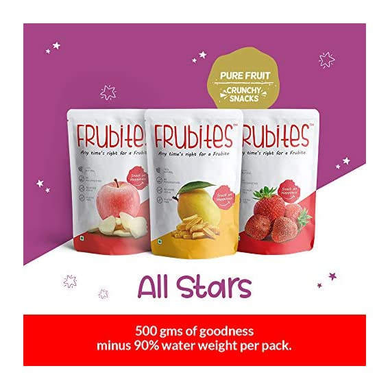 Frubites All Stars | 100% Pure (Freeze-Dried) Fruit Snack for kids | 100% Natural, Vegan, No Preservatives, Clean Label | Yummy & crunchy ??Apple , ??Mango & ??Strawberry fruits Snacks, 52GM (3 Packs)