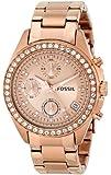 Fossil ES3352 - Reloj cronógrafo de cuarzo para mujer, correa de acero inoxidable chapado color oro rosa (cronómetro)
