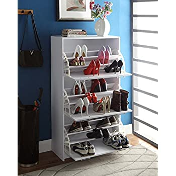 4D Concepts Deluxe Triple Shoe Cabinet, White