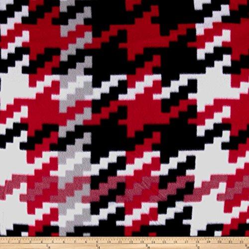 Polar Fleece Greenbriar Black/White/Red Fabric By The Yard