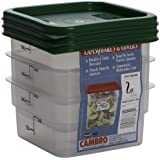 Cambro Set of 3 Square Food Storage Containers with Lids, 2 Quart