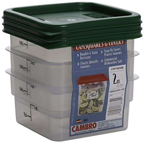Amazoncom Cambro Set of 3 Square Food Storage Containers with Lids