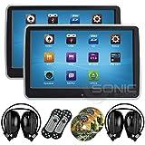 2x audio Sonic® hr-10ct–Écran tactile universel 25,7cm tablet-style à clipser appuie-tête avec écran Lecteur DVD/USB/SD et casque infrarouge sans fil–DIVERTISSEMENT Système Plug and Play de siège arrière