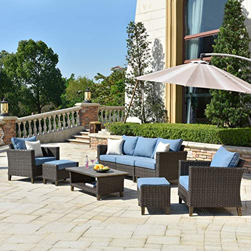 ovios Patio furnitue, Outdoor Furniture Sets,Morden Wicker Patio Furniture sectional with Table and Waterproof Covers,Backyard,Pool,Aluminum,Brown,Blue (8 Pieces, Brown Wicker + Blue Cushion)
